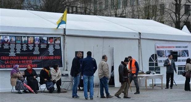 Brüksel'deki PKK çadırı kaldırıldı
